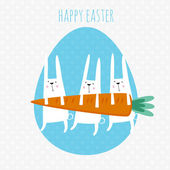 Happy easter greeting card. Vector illustration with cute rabbit — Stock Vector