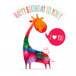 Greeting card with cute colorful giraffe. Happy birthday card. v — Stock Vector #44532981