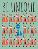 Card with foxes. Be unique. — Stock vektor