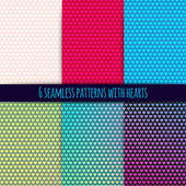 6 vector seamless patterns with hearts — ストックベクタ