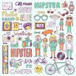 Funny colorful on dark hipsters doodle set — Stock Vector #51060167