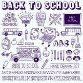 Tillbaka till skolan vintage doodle set — Stockvektor