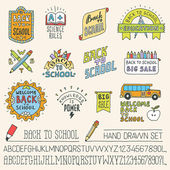 Back to school colorful doodle lettering — Stock Vector