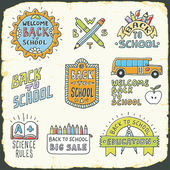 Back to school colorful doodle lettering signs — Stock Vector