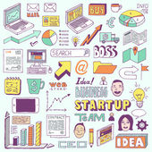 Startup business doodle set — Stock Vector