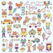 Crazy funny colorful doodles set — Stock Vector