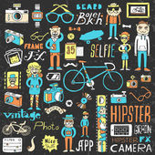 Funny colorful on dark hipsters doodle set — Stock Vector