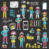 Hipster doodles selfie set — Stock Vector