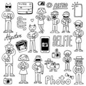 Hipster doodles selfie set — Stock Vector