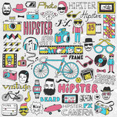 Hipster lifestyle colorful doodle set — Stock Vector