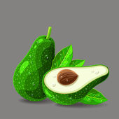 Fresh avocados with water drops — Vettoriale Stock