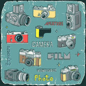 Câmeras de filme vintage doodle conjunto — Vetor de Stock