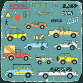 Vintage cars doodle set print on old carton card — Stock Vector