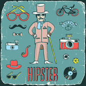 Vintage mister hipster print on old carton card — Stockvektor