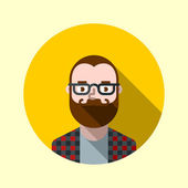 Hipster guy with beard and glasses — Stock Vector