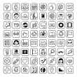 Black and white internet hipster icons set. — Stock Vector #51488051