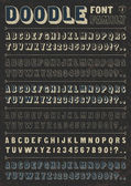 Doodle font family — Vettoriale Stock