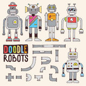 Colorful doodle toy robots set — Stock Vector