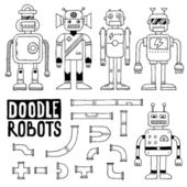 Doodle toy robots set — Stock Vector