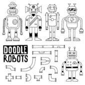 Doodle toy robots set — Stock Vector