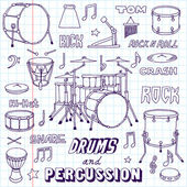 Drums and Percussion illustration — Stock Vector