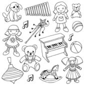 Hand drawn doodle girls toys set — Stock Vector