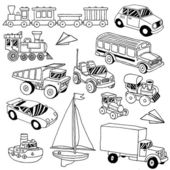 Hand drawn doodle transport toys set — Stock Vector