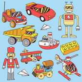 Hand drawn colorful boys toys set — Stock Vector