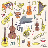 Hand drawn colorful musical instruments. — Stock Vector