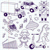 Hand drawn toys set — Stock Vector