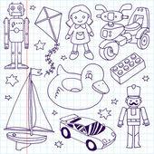 Hand drawn toys set — Stock Vector
