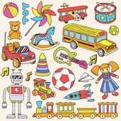 Ręka kolorowe zabawki zestaw — Wektor stockowy