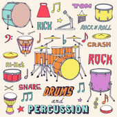 Hand drawn colorful musical instruments. — Vetorial Stock