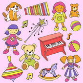 Hand drawn colorful girls toys set — Stok Vektör