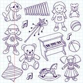Hand drawn doodle girls toys set — Vecteur