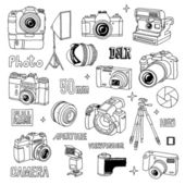 Hand drawn photographic doodles set — Stock Vector