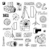 Hand drawn film photo cameras set — Stock Vector