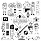 Hand drawn hipster style doodle set — Vector de stock
