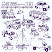 Hand drawn doodle transport toys set. — Stock Vector