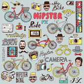 Hipsters and bikes set. — Stock Vector