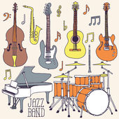 Jazz band music instruments — Stock Vector