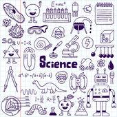 School science doodle set on notebook — Stock Vector