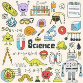 School science doodle set — Stock Vector