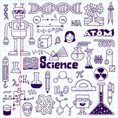 School science doodle set on notebook. — ストックベクタ