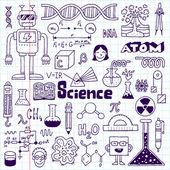 School science doodle set on notebook. — Vecteur