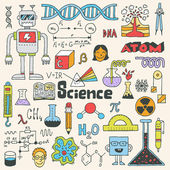 School science doodle set — Vecteur