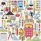 Fournitures scolaires coloré — Vecteur