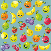 Happy funny fruits seamless pattern — Stock Vector