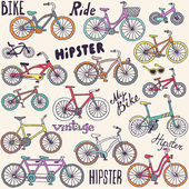 Bicycles seamless colorful pattern — 图库矢量图片