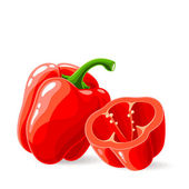 Fresh red bell peppers on white — Stock Vector